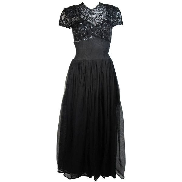 Preowned Ceil Chapman Attributed Black Gown With Beaded Bodice ...