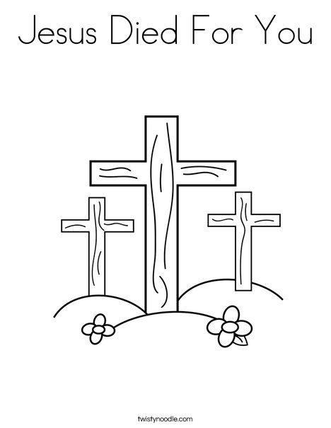 Christian Easter Coloring Pages For Preschoolers : Jesus died for you coloring page sunday school classroom