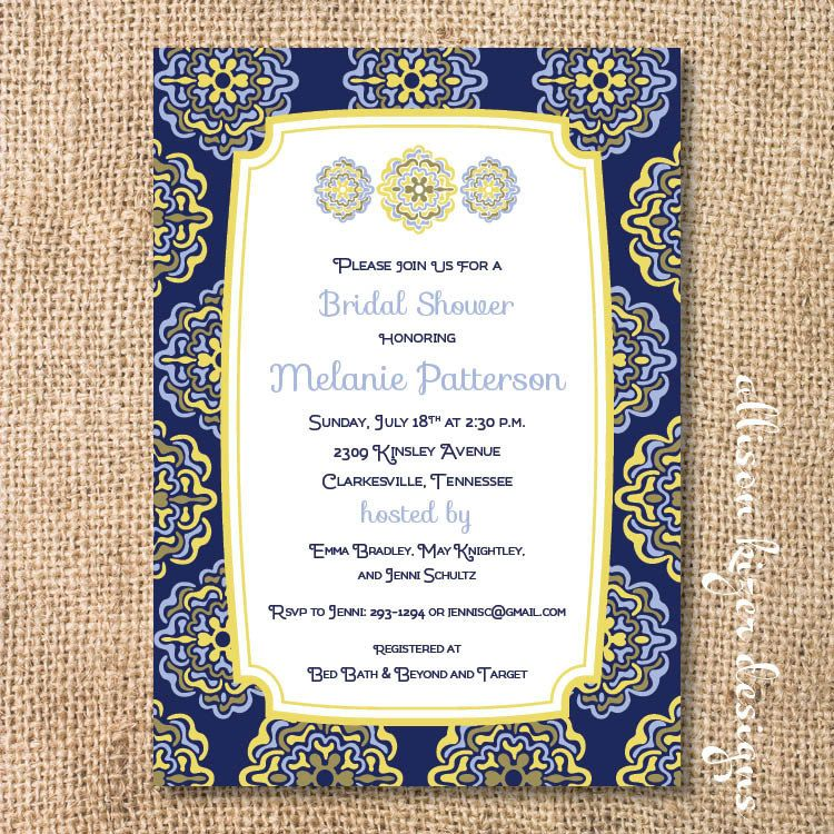 Spanish Tiles Printable Invitation. $15.00, Via Etsy
