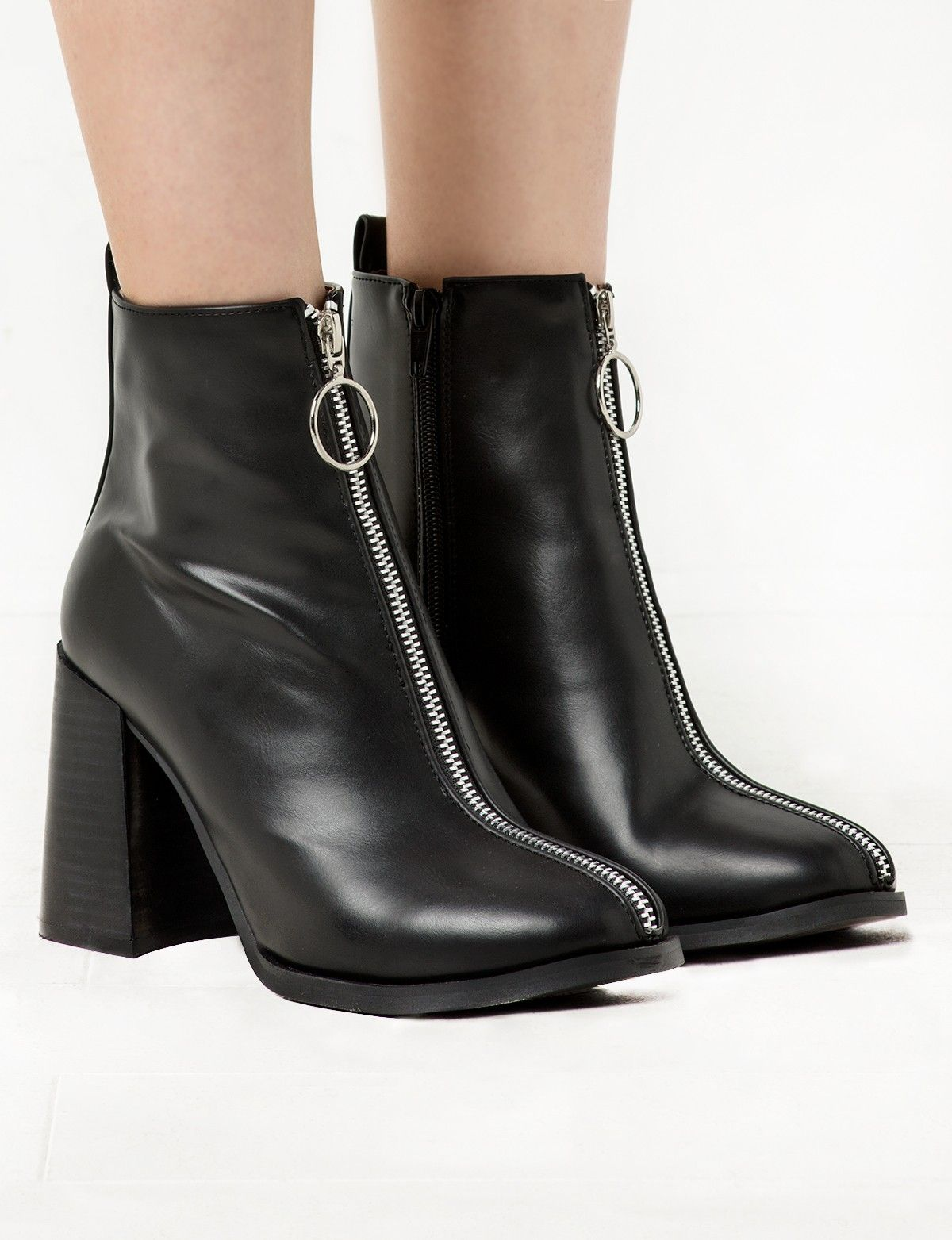 f77b72a43e9d Ring Zipper Bocke Heel Ankle Boot