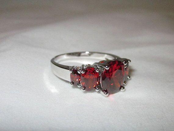 Vintage Garnet Oval Cut Sterling Silver Ring Wedding by NewYouWigs, $48.00