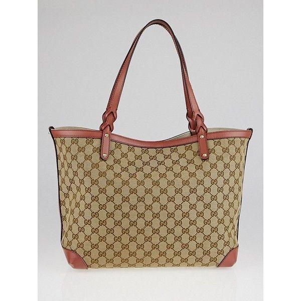 93097cc731a Pre-owned Gucci Beige Pink GG Canvas Craft Original Tote Bag (5