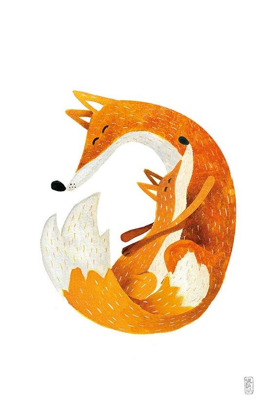 Print Fox and Cub  Print 20x30  Children illustration  Fox | Etsy