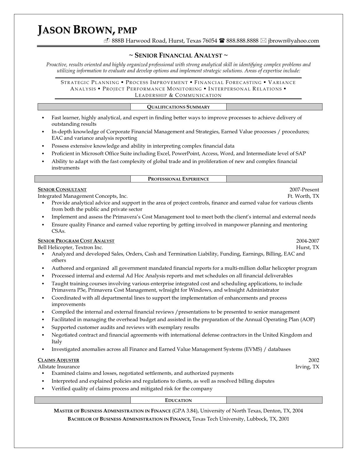 Senior Financial Analyst Resume Phdcoursework Singaporecoursework And Dissertation Share