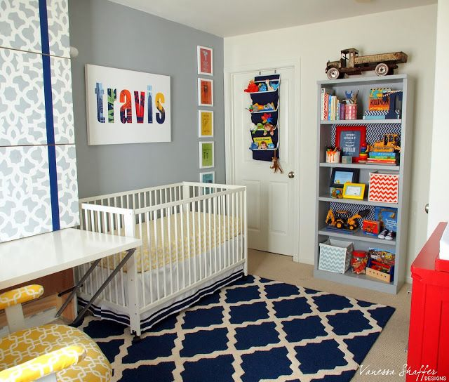 Vanessa Shaffer Designs Travis Construction Themed Nursery Grey White Navy And Pops Of Bright Colors