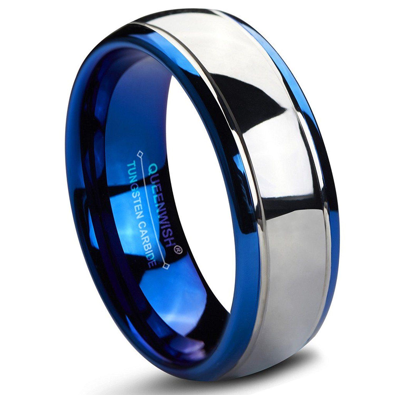 Queenwish 8mm Tungsten Carbide Wedding Bands Blue Silver