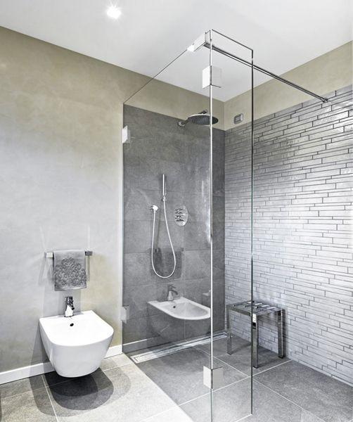 Zweiteilige glasduschwand bad pinterest badezimmer - Graues badezimmer ...