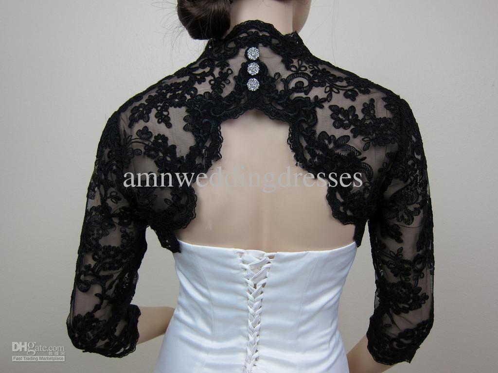 Gorgeous romantic black 3 4 sleeves lace keyhole back for Black lace jacket for wedding dress