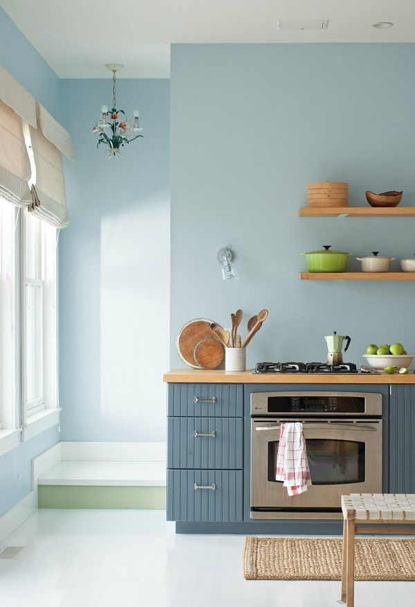 Paint A Kitchen In Shades Of Blue Complemented By Pale Wood For Scandinavian Feel