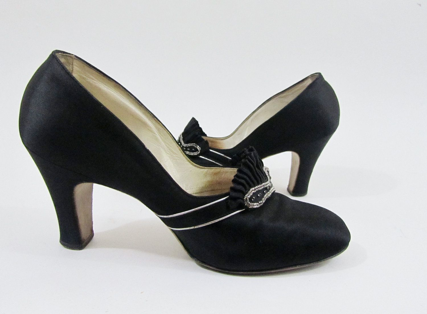 46fa80d259a6 1920s Dress Shoes   Vintage 20s Shoes in Black Silk with Silver    Rhinestone Trim.  195.00