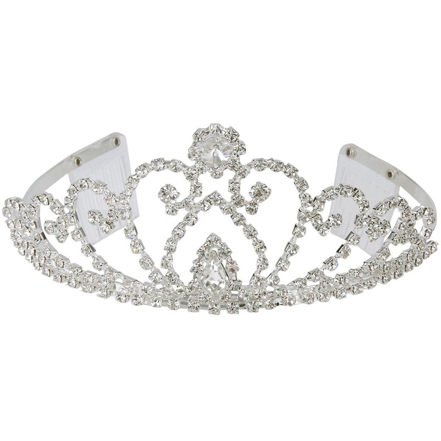 Clearine Women's Crystal Victorian Style Simulated Pearl Bling Wedding Bridal Crown Hair Tiara Silver-Tone FRFlb