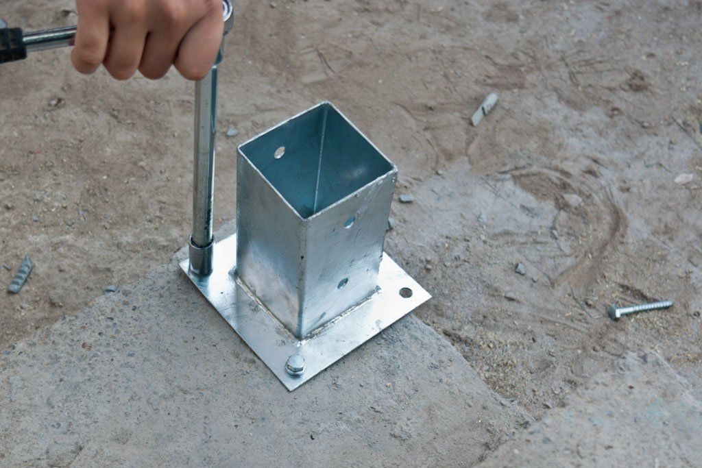 How To Anchor Post To Concrete Deck Posts Patio Railing