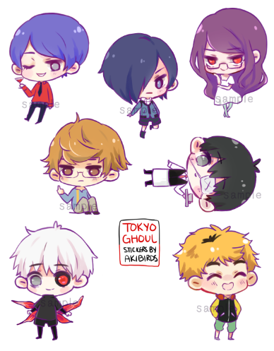 Tokyo ghoul stickers · akibirds · online store powered by storenvy