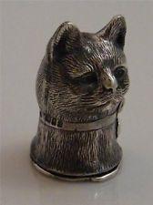 STERLING SILVER CAT HEAD VESTA CASE MATCH SAFE