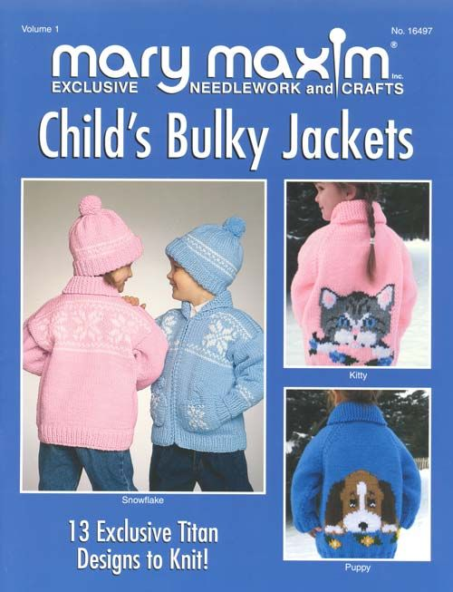 Thirteen exclusive child designs to knit using Mary Maxim Titan ...