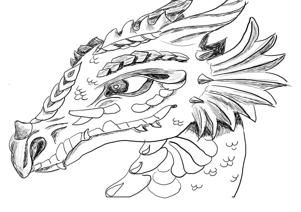 hard coloring pages for adults | Dragon face coloring page ...