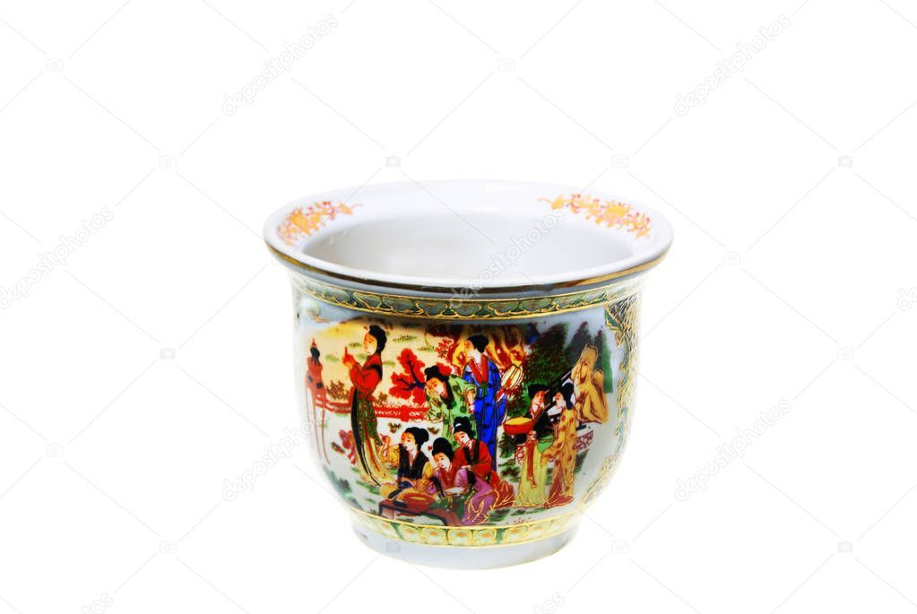 Chinese-flower-pot-with-painting-in-traditional-style-isolated-o - Stock ,