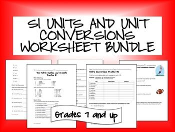 SI Units and Unit Conversions Worksheet Bundle | Study guides ...