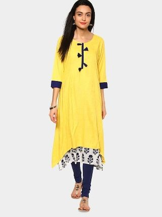 2511ef747f1 Style this kurta with a pair of churidar bottoms and strappy sandals. Add  on a gold-toned bracelet and carry a sleek clutch to enhance the style.