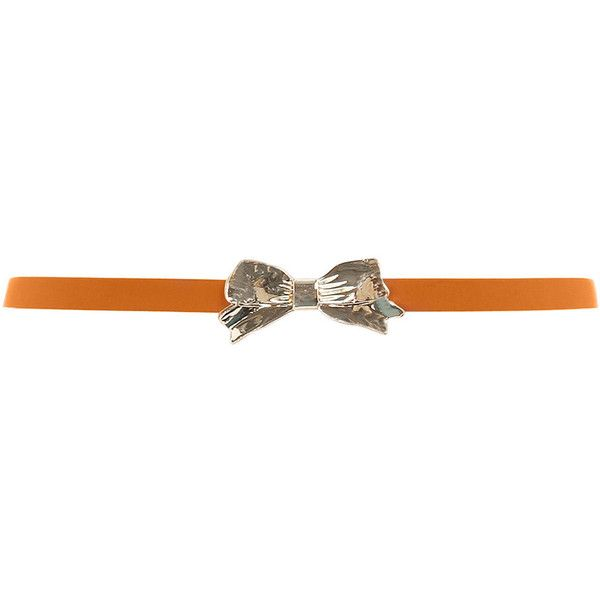 Orange patent bow belt ($4.18) ❤ liked on Polyvore featuring accessories, belts, women's accessories, bow belt, dorothy perkins and orange belt