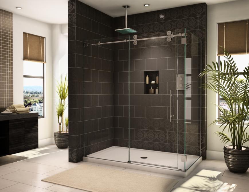 half shower door for shower - Google Search   Bathrooms   Pinterest ...