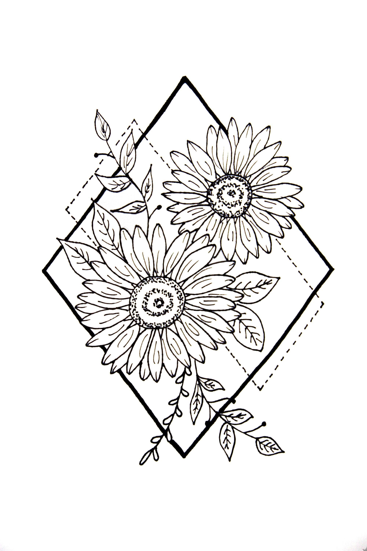 Digital File Geometric Diamond Sunflower Arm Back Leg Tattoo Etsy In 2020 Sunflower Drawing Back Of Leg Tattoos Sunflower Tattoo Simple