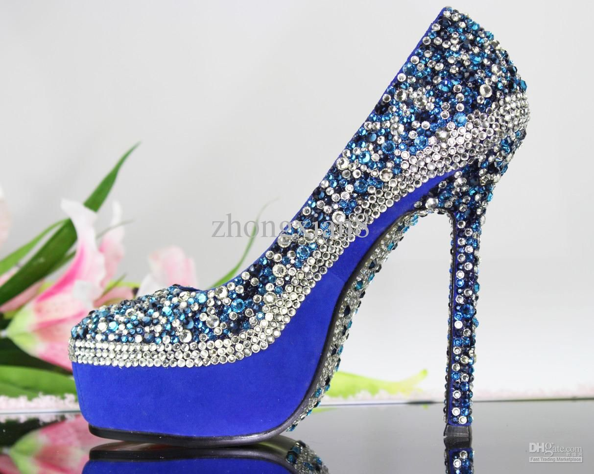 Silver Crystal High Heels Royal Blue Wedding ShoesRoyal