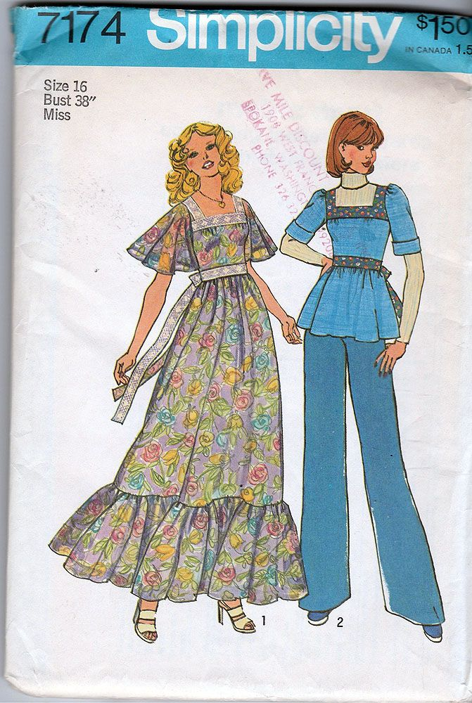 bbe8e9851736 Simplicity 7174  ©1975  BoHo Chic  Young Junior Teen s or Misses ...