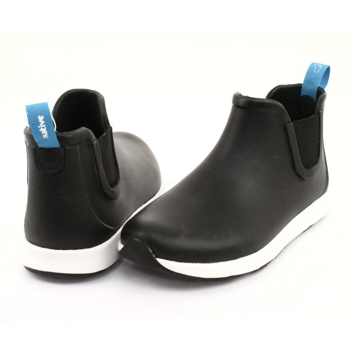 Native Ap Rain Jiffy Black Shell White Jiffy Rubber Biale Czarne Womens Wellies Boots Black