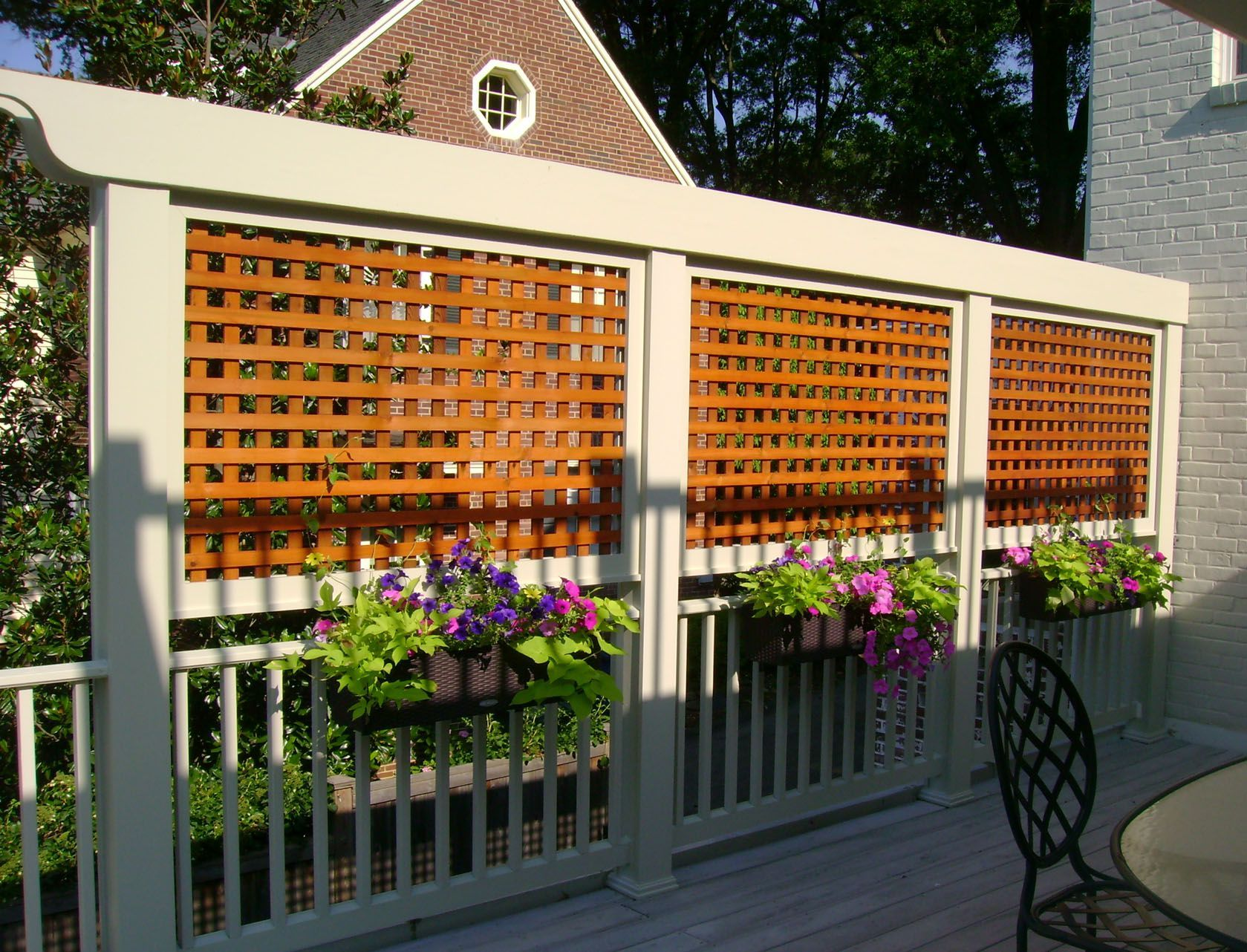 Deck with planters and lattice privacy screens exterior for Privacy planters for decks