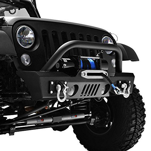 Gsi 07 16 Jeep Wrangler Jk Black Textured Short Stubby Front Bumper With Fog Lights Hole 2x D Ring Winch Plate Black Jeep Bumpers Jeep Winch Jeep Front Bumpers