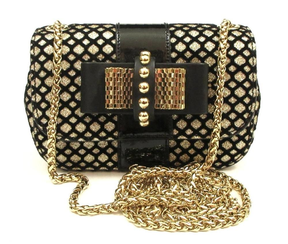 d9bea867e90 CHRISTIAN LOUBOUTIN BLACK MIXED LEATHER GLITTERED SWEET CHARITY CROSSBODY  BAG