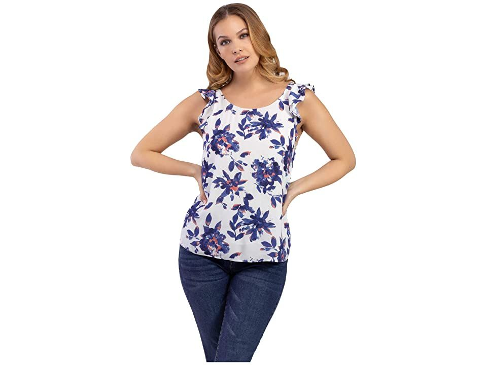 Tribal Sleeveless Blouse w/ Ruffle - Women's Clothing : Blue Wave : The TRIBAL Sleeveless Blouse w/ Ruffle embraces modern elegance with an allover floral print, ruffled cap sleeves, and a self-tie accent at the back panel. Sleeveless blouse is featured on a satin chiffon fabrication. Round neckline. Pullover styling. Straight hemline. 100% rayon. Machine wash cold, line dry. Imported.
