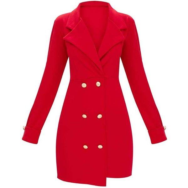 e55071dde529c Red Gold Button Detail Blazer Dress ( 45) via Polyvore featuring dresses
