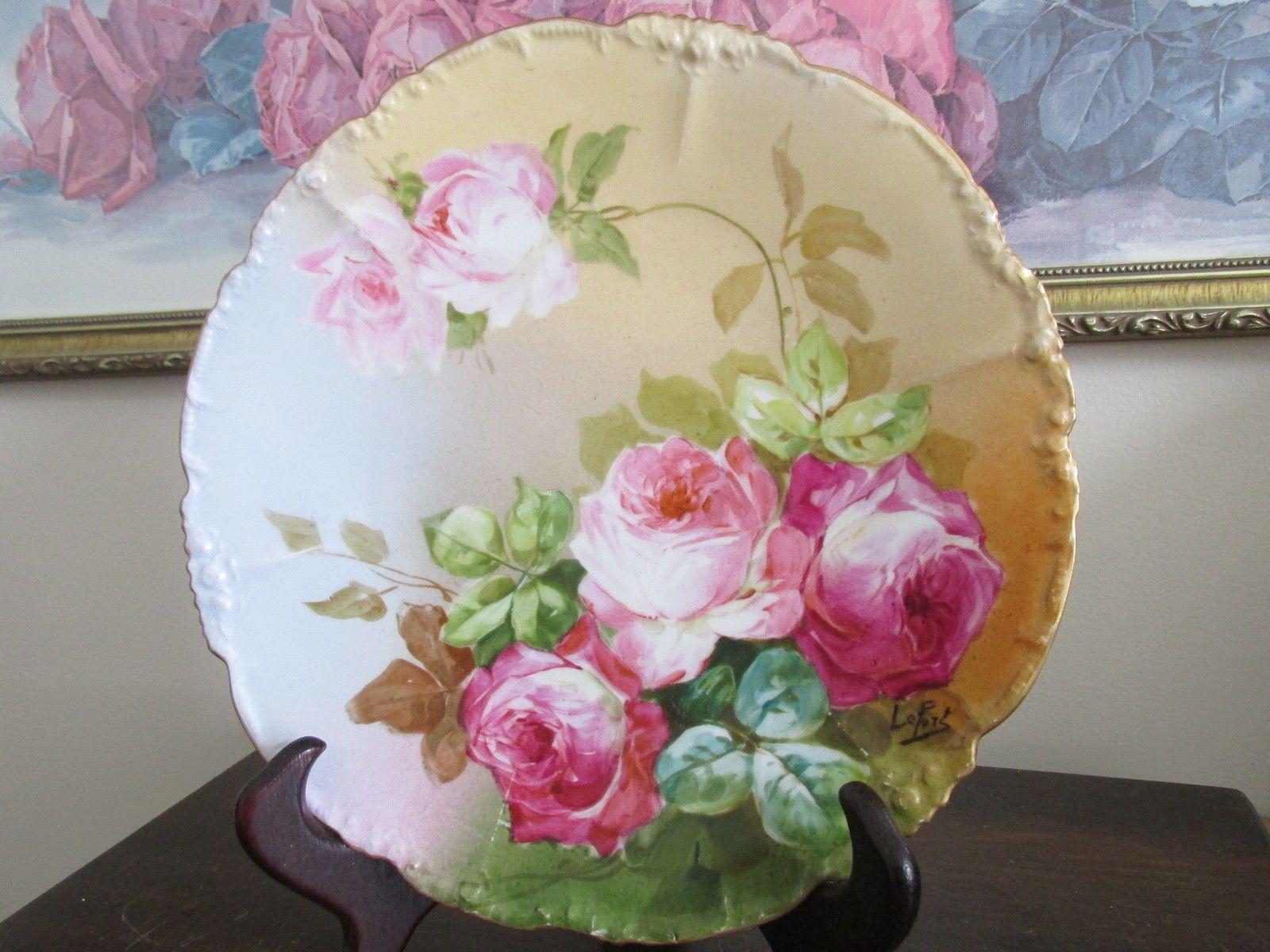 Details Antique France .l. Hand Painted Artist