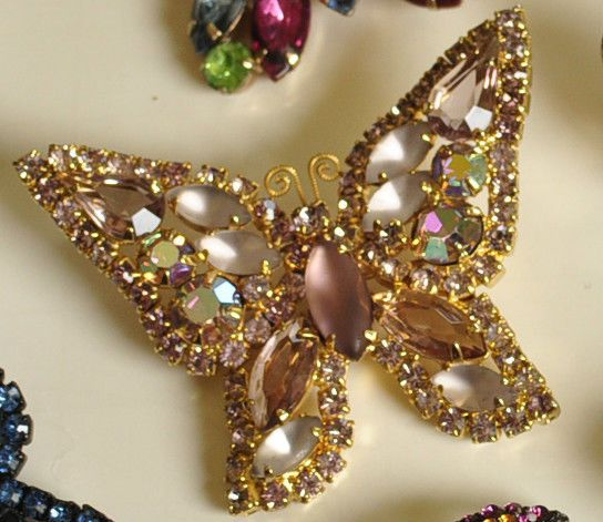 Vintage Weiss Butterfly Brooch~With Lilac and Purple Rhinestones~