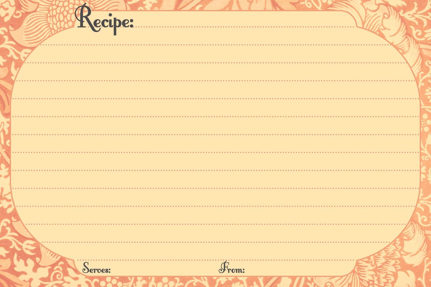 recipe-card-template.jpg | RECETARIO | Pinterest | Recetario y Papel