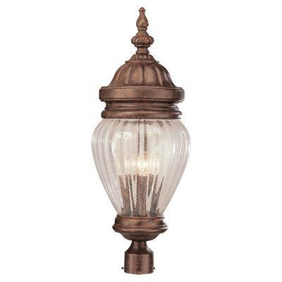 Trans Global Lighting 4443 Ar New American 3 Light Outdoor Post Top Antique Rust By