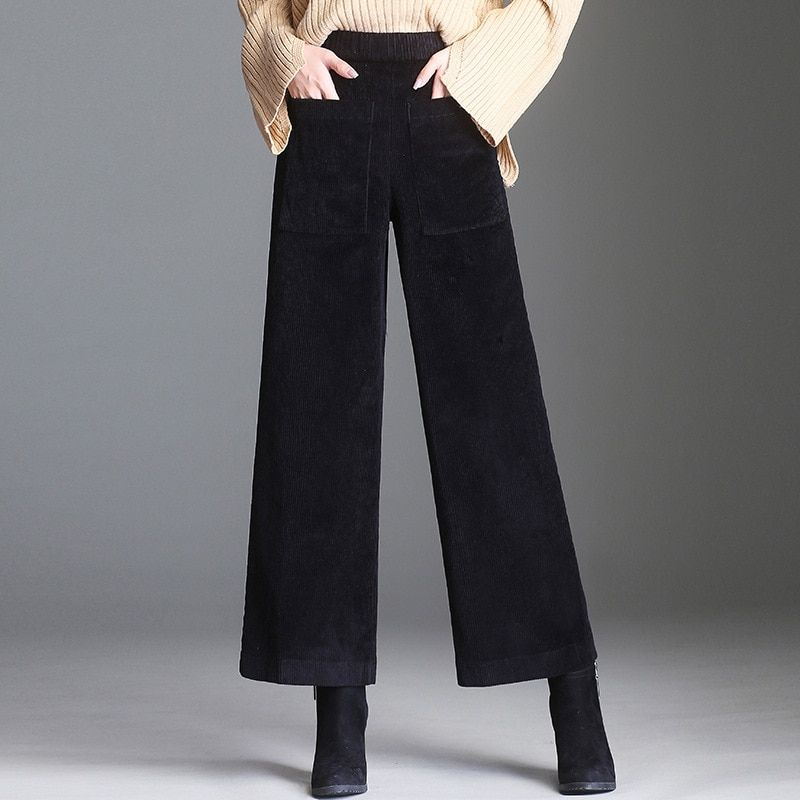 dba0cdfbe3f Corduroy wide leg pants female autumn winter Korean version loose elastic pant  high waist dominant large