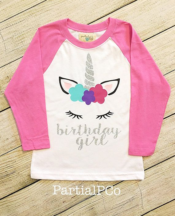 5c5037385 Girl's Unicorn Birthday Shirt Birthday Girl Raglan, glitter, baseball tee,  personalized