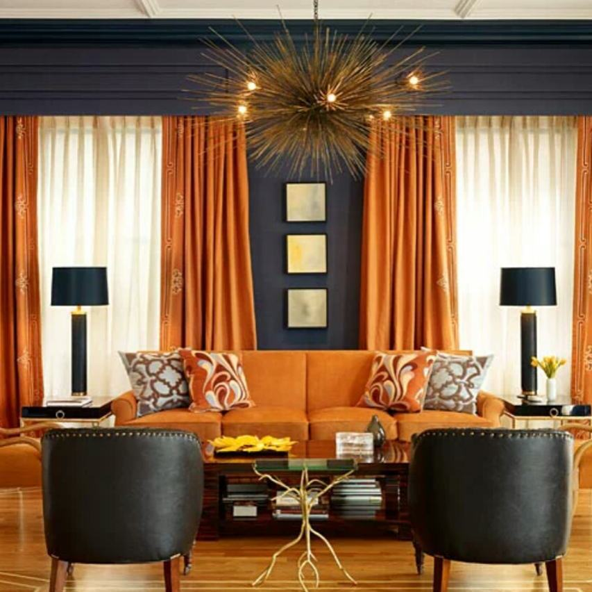 Pin On Lovely Rooms And Spaces #orange #and #gray #curtains #for #living #room