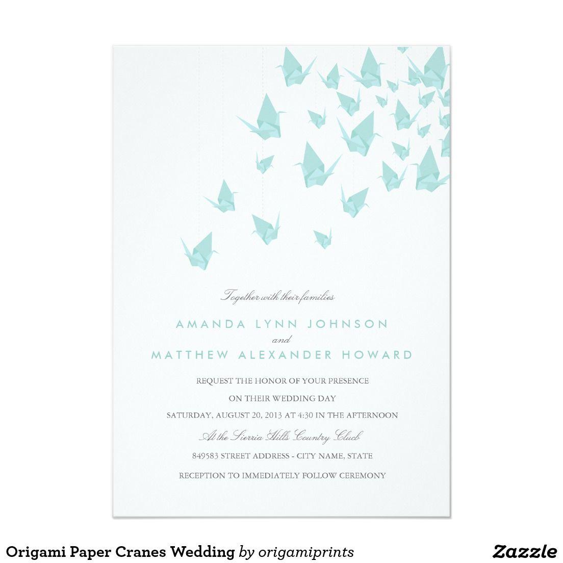 Origami Paper Cranes Wedding Invitation | Zazzle.com ... - photo#21
