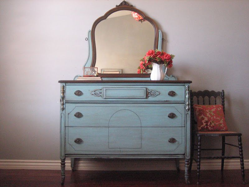 Pretty Antique Dresser Painted In A Blue Chippy Distressed Finish