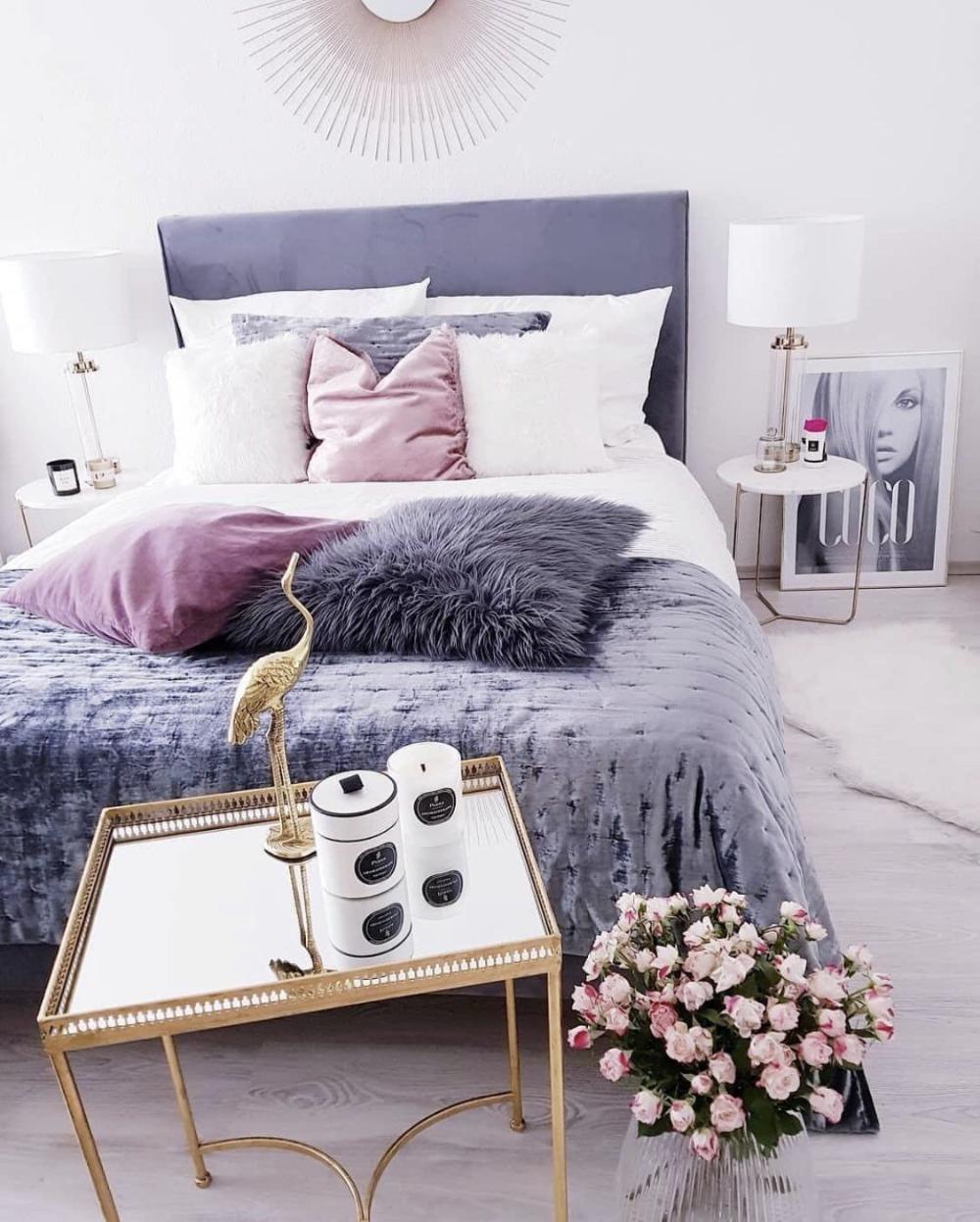 Chambre Gris Blanc Rose chambre deco elegante simple gris blanc rose en 2020