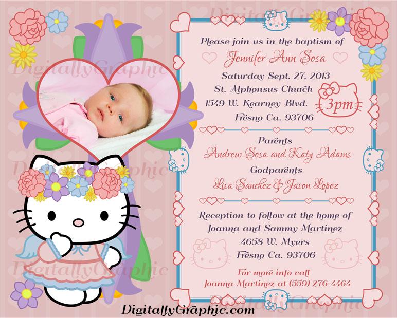 Pin By Ana Hernandez On Baby Party Hello Kitty Invitations Christening Invitations Girl Hello Kitty Invitation Card