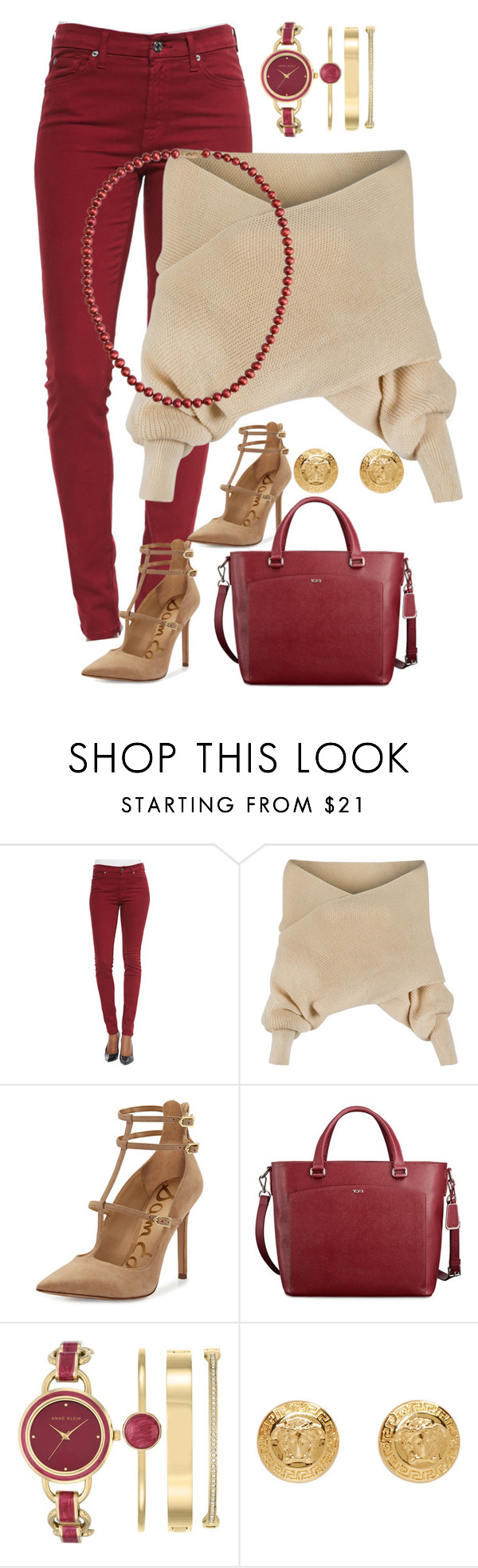 """""""Warm"""" by ahapplet ❤ liked on Polyvore featuring 7 For All Mankind, WithChic, Sam Edelman, Tumi, Anne Klein, Versace, A B Davis, caramel, cranberry and ahapplet"""