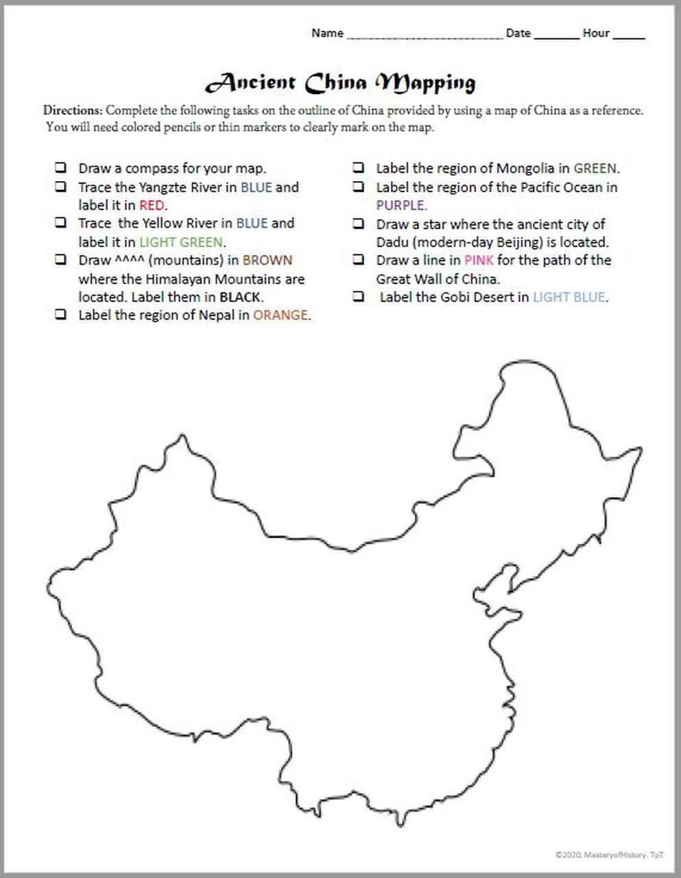 medium resolution of Ancient China Mapping Activity   Map activities