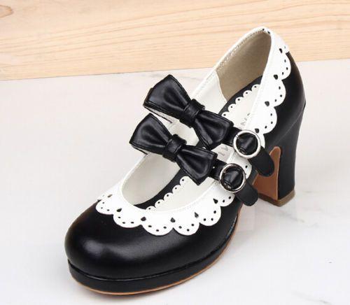 Women's Girls Sweet Bowknot Lolita Block Heel Mary Janes Retro Pumps Dress Shoes