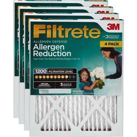 Filtrete 12x12x1 Allergen Reduction Hvac Furnace Air Filter 1200 Mpr Pack Of 4 Filters Walmart Com Hvac Furnace Furnace Filters Furnace