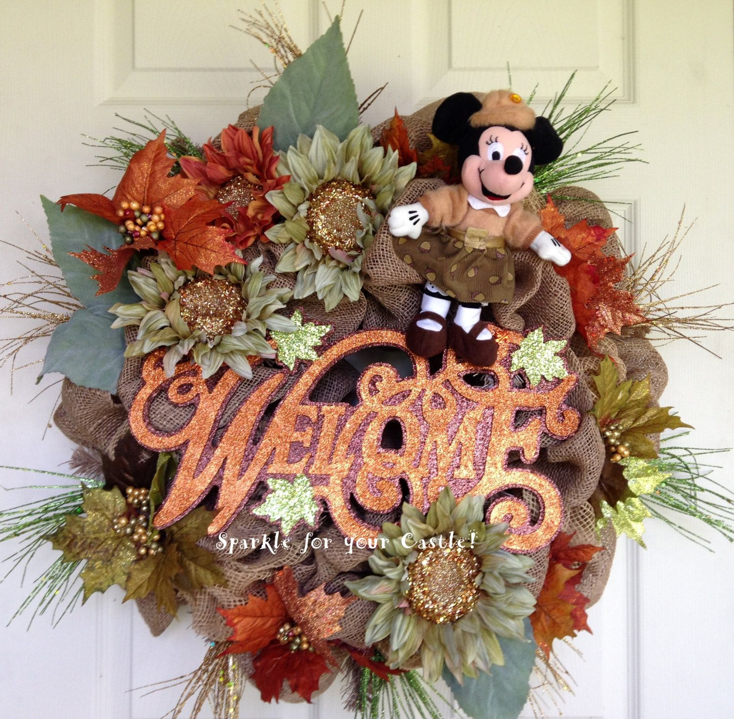Fall Burlap Deco Mesh Welcome Wreath with by SparkleForYourCastle - Minnie Mouse Halloween Decorations